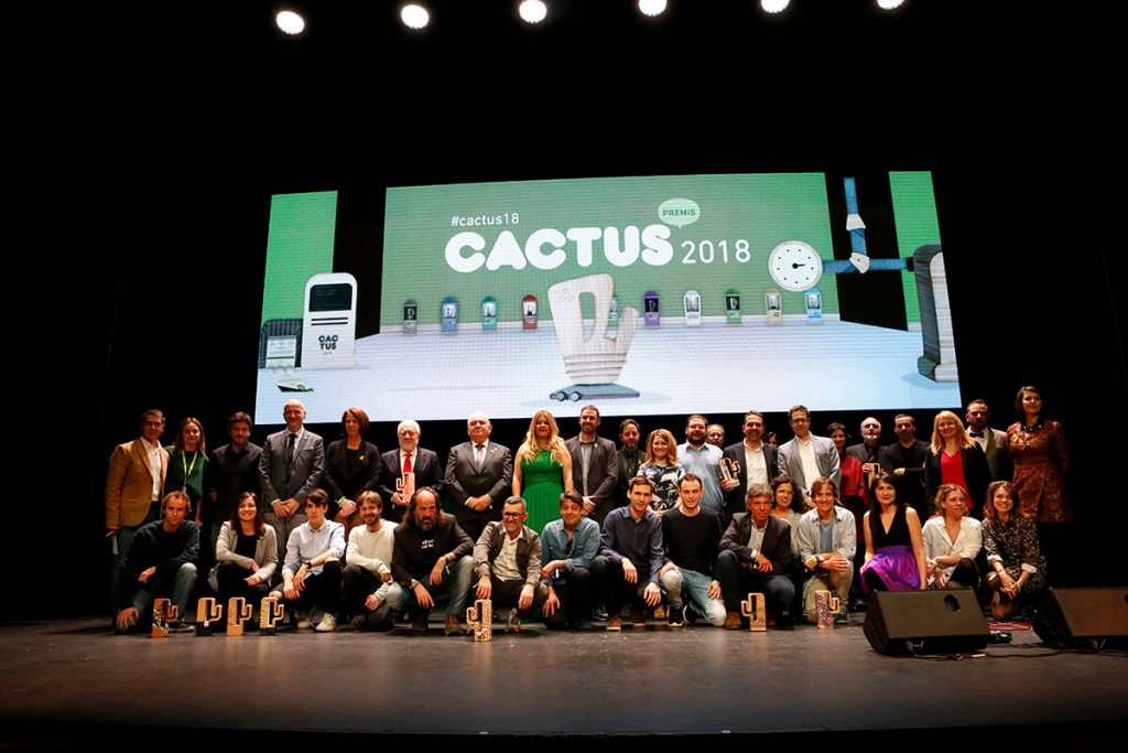 Premios cactus 2018. Foto final con Lluis Bassat y Ester Montjer.