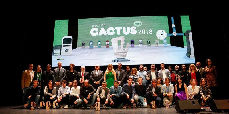 Premis cactus 2018. Foto final amb Lluis Bassat i Ester Montjer.