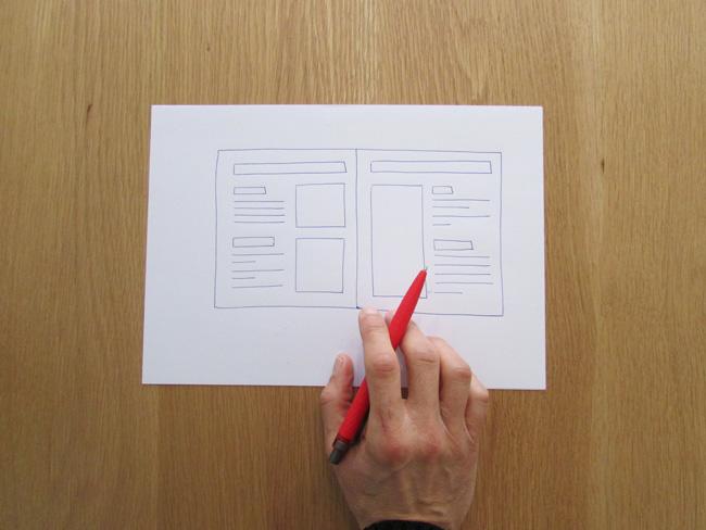 Folio con el contenido dibujado de un catalogo comercial